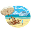 beach resort and ocean cruise ship vector image vector image