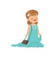 beautiful girl wearing dult oversized blue dress vector image