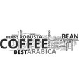 best coffee bean text word cloud concept vector image vector image