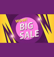 big sale banner in yellow with purple colors vector image