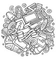 cartoon doodles work from home vector image vector image