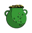 cartoon st patrick day green pot golden coins vector image