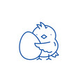 chick with an egg line icon concept chick with an vector image vector image