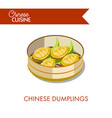 chinese dumplings in plate isolated on white vector image vector image