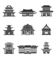 Chinese house icons black vector image
