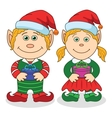 Christmas elves boy and girl vector image vector image