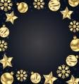 christmas frame golden balls stars snowflakes vector image vector image