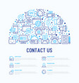 contact us concept in half circle vector image vector image