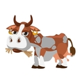 Cute spotted cow munching hay cartoon character vector image vector image