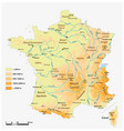 detailed physical map french republic vector image vector image