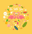 flamingo couple in summer with many fruits vector image vector image