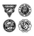 gaming set retro badges emblems labels vector image vector image