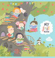 happy children reading books in the treehouse vector image vector image