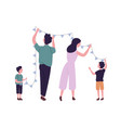 happy family hanging flags or bunting garland on vector image vector image