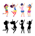 happy women in bright clothes hippie female vector image