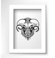 head goat decorative drawing in ethnic style vector image