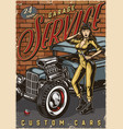 hot rod garage service colorful poster vector image vector image
