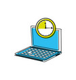 laptop computer with chronometer vector image vector image