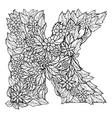 letter k dudling drawing mandala vector image