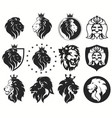 lion head with crown set royal cat golden luxury vector image vector image