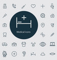 medical outline thin flat digital icon set vector image