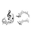 music notes set on white vector image vector image