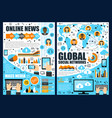 online news and global network vector image vector image