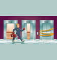 repair man and out order elevator vector image