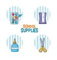 school supplies cartoons vector image vector image
