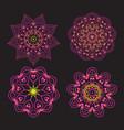 set ethnic fractal mandala tattoo design looks vector image vector image
