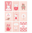 set of baby cards with cute animals and flower vector image
