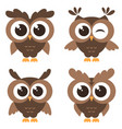 set of brown funny owls isolated on white vector image vector image