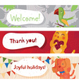 Set of cute horizontal banners with home animals vector image
