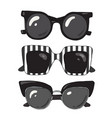 set of fashionable stylish sunglasses vector image vector image