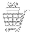 shopping cart with giftbox vector image