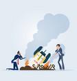 startup rocket crash vector image vector image