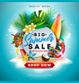 summer sale design with flower beach holiday vector image vector image