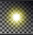 sun ray light isolated on checkered background tr vector image vector image