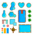 swimming pools top view set vector image vector image