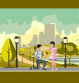 the man makes offer to girl vector image vector image