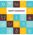 Thin Line Art Happy Hanukkah Jewish Holiday Icons vector image vector image