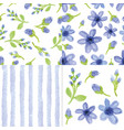watercolor blue flowersstrips seamless patter vector image