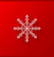 white snowflake flat icon with red background vector image vector image