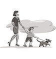 young skinny with baby and dog during a walk