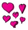 doddle hearts set hand drawn heart vector image