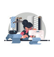 girl seamstress in workplace vector image