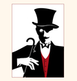 a man in a frock coat glasses gloves hat vector image