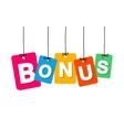 colorful hanging cardboard Tags - bonus vector image