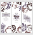 fruit banners - hand drawn design vector image