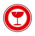red glass broken emblem icon vector image